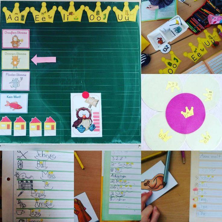 Dank der entzückenden Geschichte von @montiaffen zu den Silbenkönigen und den Kronen meiner Froileinkunterbunt ;) sind die Kinder total motiviert auf Silbenkönigsuche zu gehen. Heute hat jede Tischgruppe eine Box mit Bildkarten bekommen. Zuerst wurde das Bild angemalt, die Silben notiert und geklatscht, das Wort aufgeschrieben und dann die Königskronen aufgemalt. Hat toll geklappt und es gibt richtig gute Schreiber unter den Eulen :) #anfangsunterricht #deutsch #Silbenkönige #klasse1…