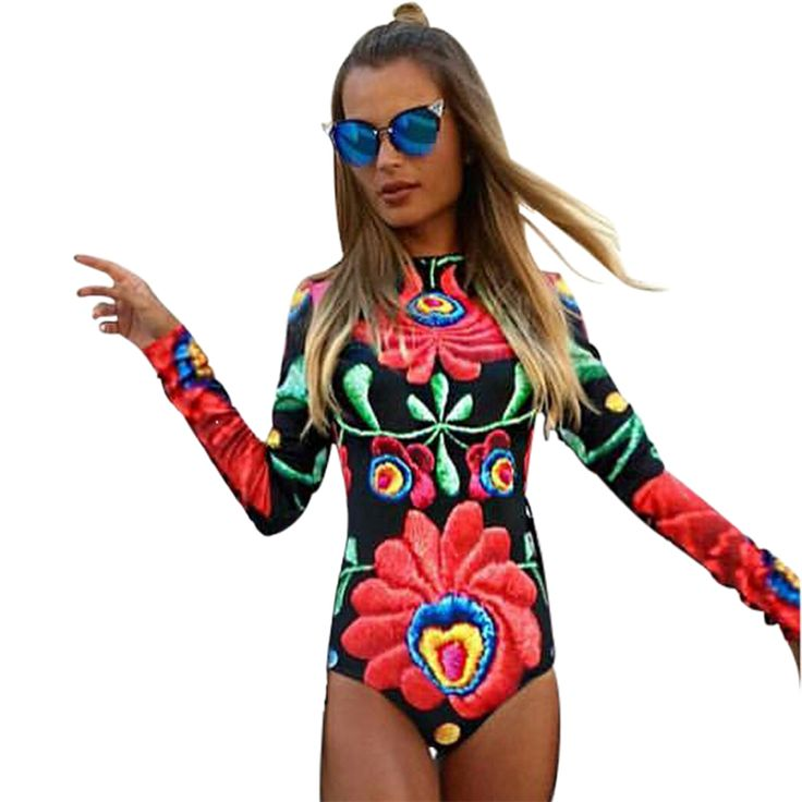 HEYounGIRL 2017 Summer Black Red Romper Tight Sexy O Neck Backless Women Jumpsuit Print Floral Long Sleeve Bodycon Slim Bodysuit