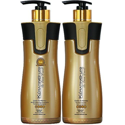 Keratin Cure Professional Brazilian Hair Treatment V2 Creme Gold and Honey Straightening Repair and Shine 2 Piece Kit 460 Ml /15 Fl Oz - Tratamiento Brasilera De Keratina Alisado >>> Check out the image by visiting the link.