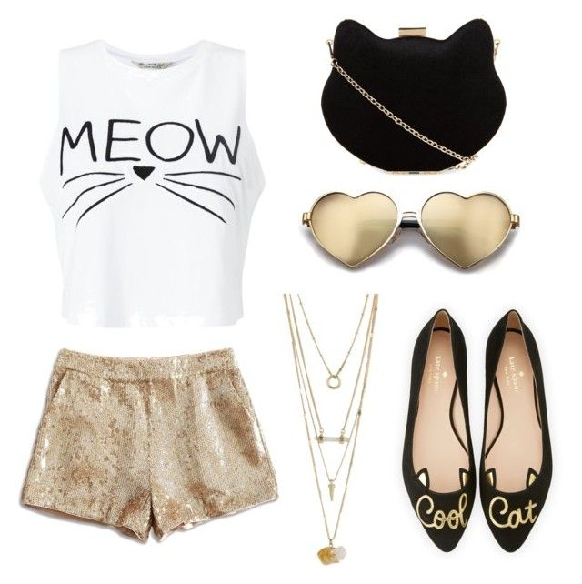 """""""Black and Gold Kitty"""" by aamanigk on Polyvore featuring Miss Selfridge, Kate Spade, New Look, Lucky Brand and Wildfox"""
