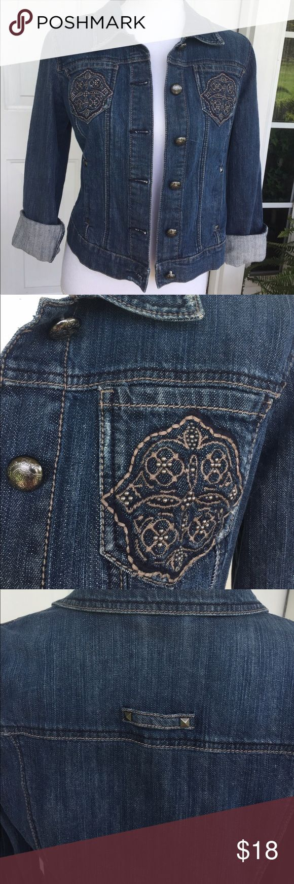 "Denim Jacket Versatile denim jacket from Code Bleu. Beautiful embroidered and bead detail on front pockets. Great item to wear with anything or personalize it with your own buttons or patches. Size small, measuring 17"" pit-pit and 21"" long. EUC.                                                                   Check out the awesome selection of patches and decorations @begoniablush Code Bleu Jackets & Coats Jean Jackets"