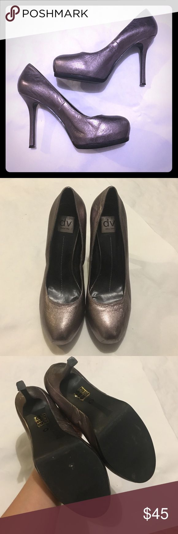 "dv Dolce Vita Metallic Pumps size 6 Gorg Metallic Pumps. Approx 4 3/4"" heel. Some sticky residue on inner heel from sticker. Some scuffs and markings from wear. Wear to bottoms / heel but in good used condition. DV by Dolce Vita Shoes Heels"