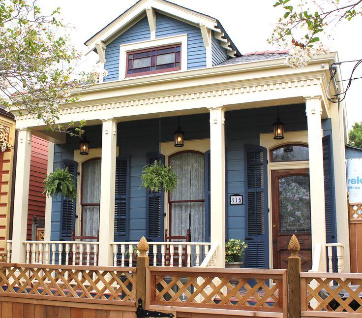 New Orleans Home Siding Blue Shutters Dark Blue Fascia Trim Posts Railings Cream Window