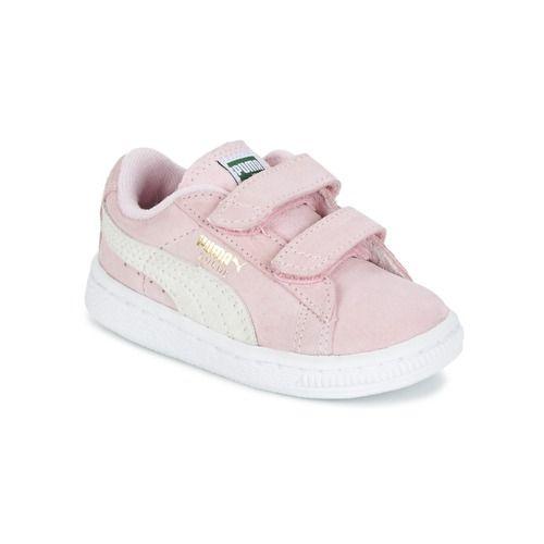 Puma SUEDE 2 STRAPS PS Rose / Blanc - Chaussure pas cher avec Shoes.fr ! - Chaussures Baskets basses Enfant 48,59 €