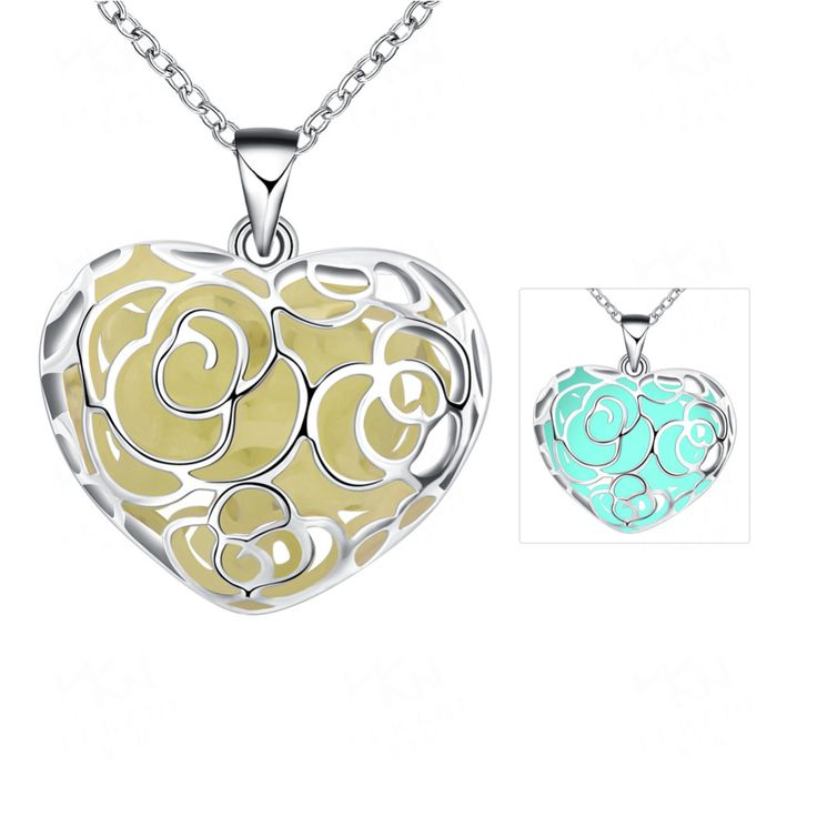 Cheap lovely wholesale, Buy Quality glowing heart directly from China pendant necklace Suppliers: WHOLESALE Luminous Pendant Necklace Fluorescent Stone Hollow Locket Cage Glow Heart love In The Dark For Women Night Light 100PC