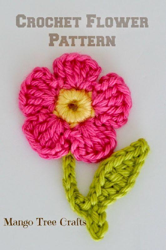 Free Crochet Flower Applique Pattern.