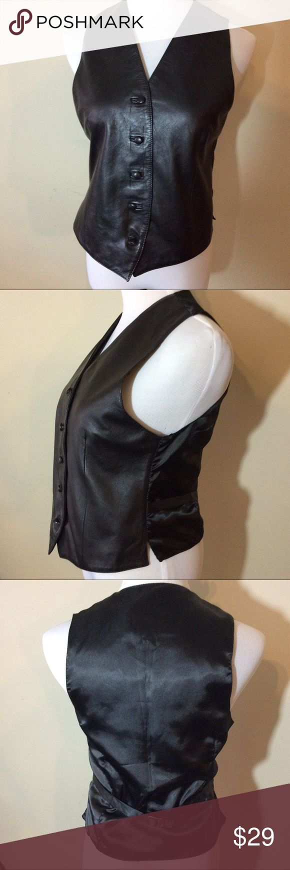 "House of Fraser UK Black Leather Vest Button Down Make this yours! Genuine Leather UK Brand House of Fraser Luxurious Black Vest! Button Down.  The Measurements: Tag Size: Medium Chest: 34"" Length: 22""   Condition: No signs of wear house of fraser Jackets & Coats Vests"