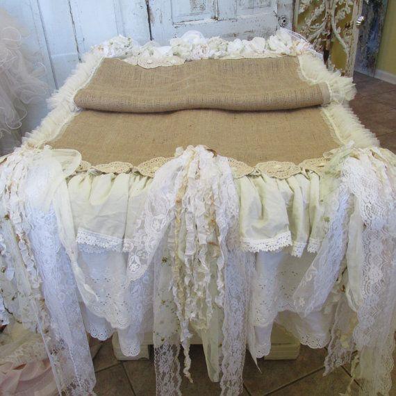 Handmade tattered fabric runner table linen shabby romantic farmhouse burlap and ruffles wedding or home decor anita spero design