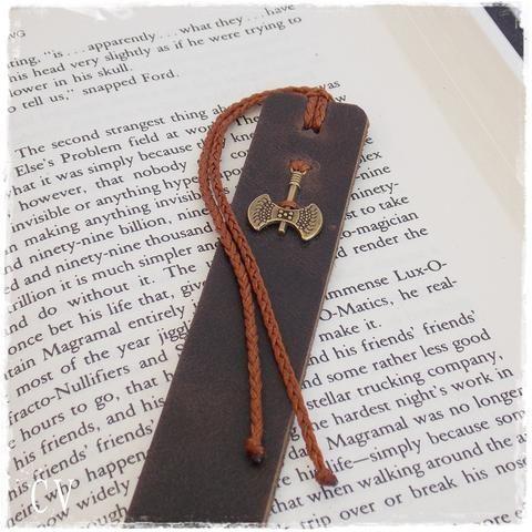 Battle Axe Leather Bookmark, 3rd Anniversary Gift, Teacher's Gift