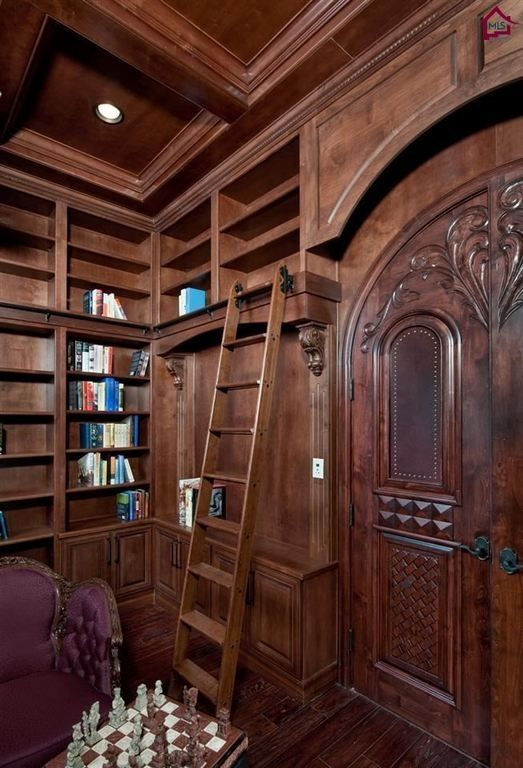 Craftsman Library With French Doors Hardwood Floors Box