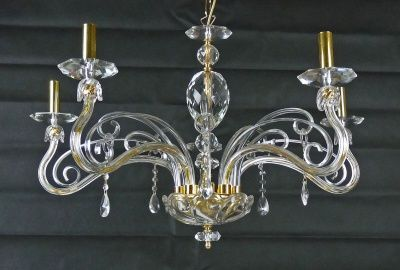 CHANDELIER IN CRYSTAL WITH GLASS AND LED LAMP LIGHTS ART.C8