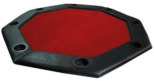 "48"" Red Felt Folding Octagon Poker Table Top w/ Cup Holders & Padded Rail by Brybelly by Brybelly. $69.99. This table top is great for someone who doesn't have room for a poker table, but wants to host a game. Simply unfold the 48"" table top and place it on a table to start your game. A sturdy wooden frame supports a padded playing surface which is surrounded by a plush vinyl rail. The 6"" wide rail contains 8 built-in cup holders to help keep messy spills out of your g..."
