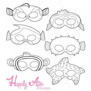 Fish Printable Coloring Masks - Finding Nemo or Finding Dory party printables