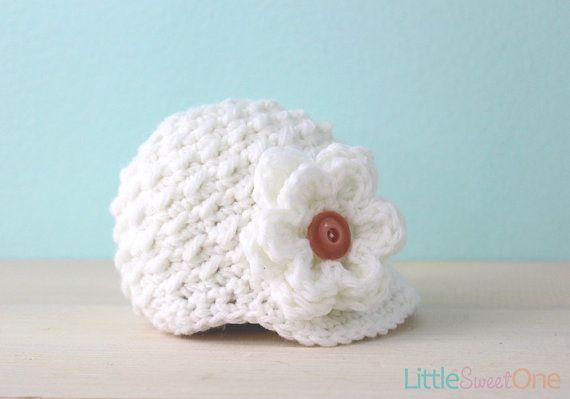 White Camellia Newsboy Hat  Knit Baby Hat by LittleSweetOneShop, $24.00