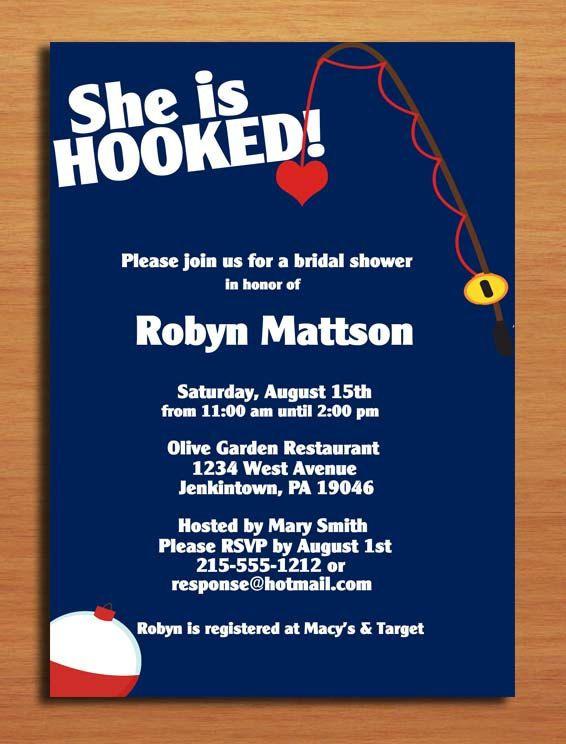 Hooked fishing bridal shower customized printable for Walmart wedding shower invitations