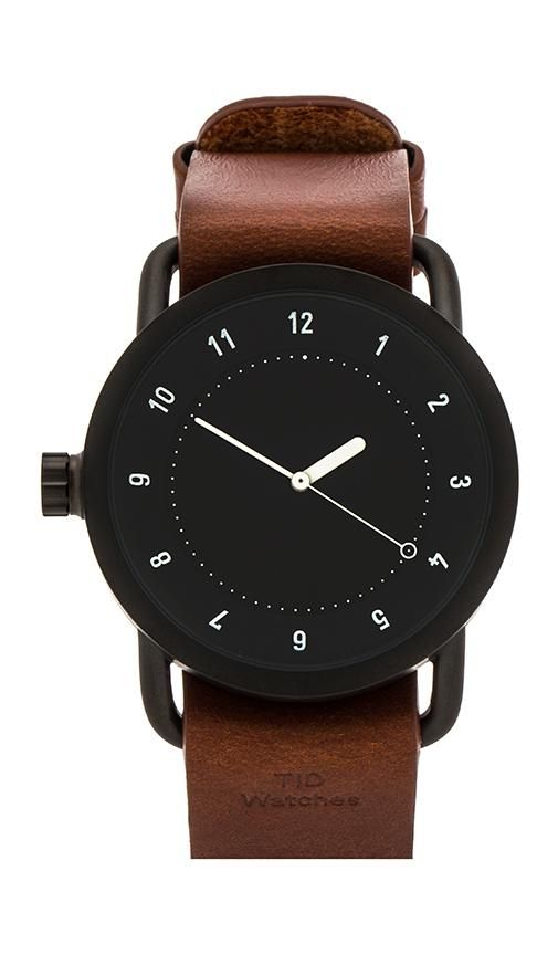 black white and leather watch