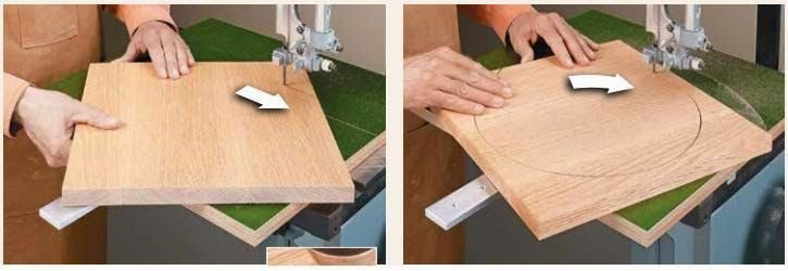 Ah! E se falando em madeira...: gabarito para corte de circulos na serra de fita