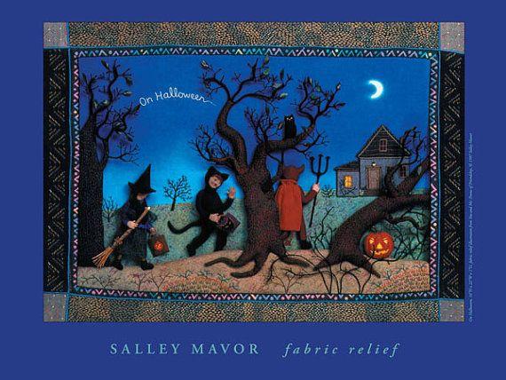 Halloween Poster fabric relief children's book art by SalleyMavor, $10.00