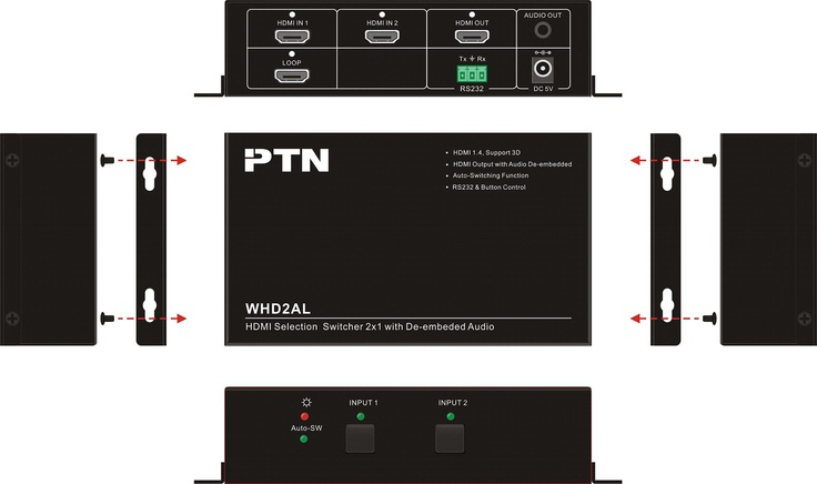 PTN WHD2AL Automatic HDMI switcher with audio de-embedder