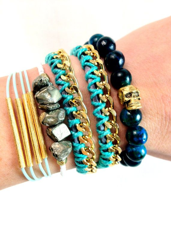 Teal and Gold Stacked Bracelets