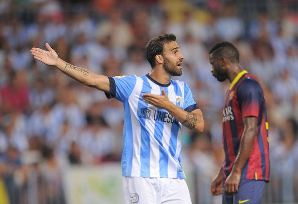 Jesus Gamez of Malaga CF reacts during the La Liga match between Malaga CF and FC Barcelona at La Rosaleda Stadium on August 25, 2013 in Malaga, Spain.