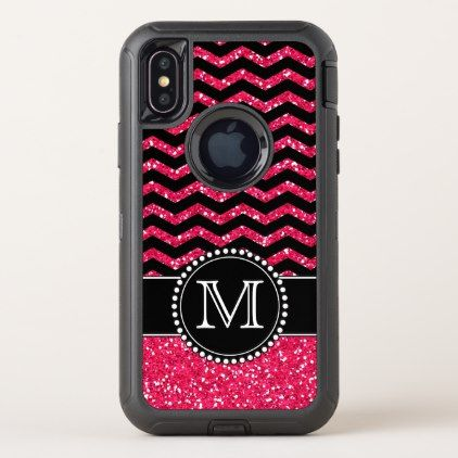 Black & Pink Glitter Chevron Monogrammed Defender OtterBox Defender iPhone X Case - girly gifts special unique gift idea custom