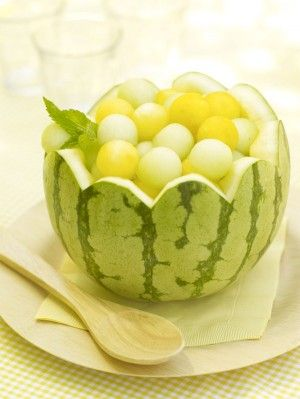 Melon Balls  Dress up this everyday treat by serving it in a scallop-edged watermelon bowl. A mix of green honeydew and golden watermelon delivers a fresh and inviting look.