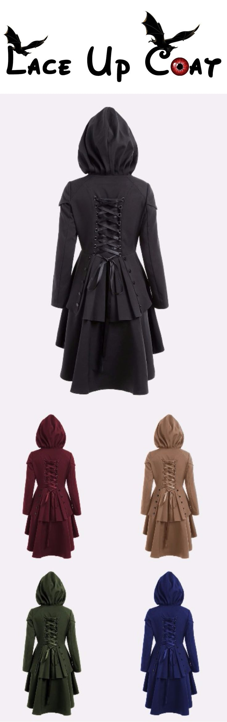 Happy Halloween Costume | $22.07 | Layered Lace Up High Low Hooded Coat | Sammydress.com