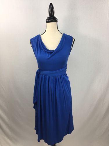 Envie-De-Fraise-Paris-Women-039-s-Size-Sz-S-Small-Dress-Blue-Wrap-Style-Cowl-Neck