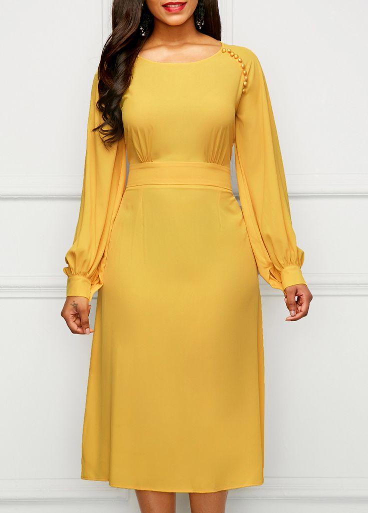 Band Waist Long Sleeve Yellow Dress   Rosewe.com - USD $31.86