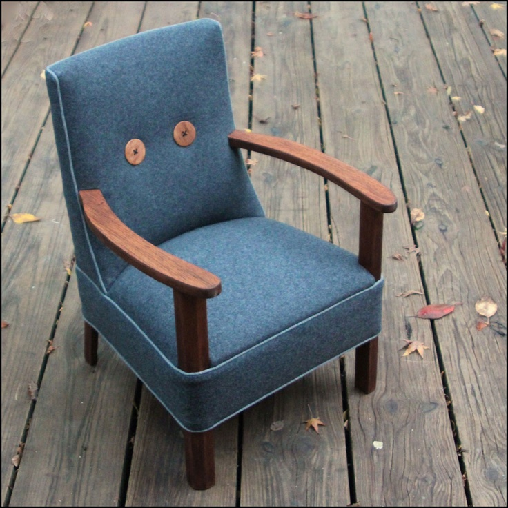 Lovely Little Chair Re-Upholstered In Grey Wool Fabric From flaunt.com.au