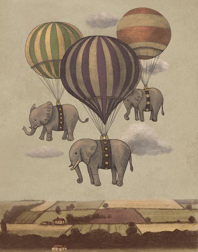 Flight of the Elephants by Terry Fan.  Elephant hot air balloons.  @Caelie Dunn