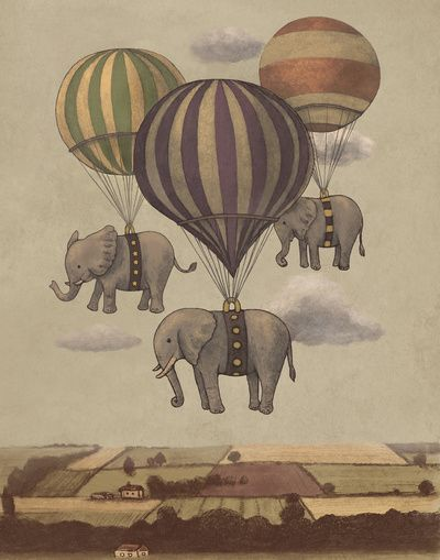 "Flight of the Elephants   by Terry Fan   Art Print / MINI (8"" x 10"")  $18.00"