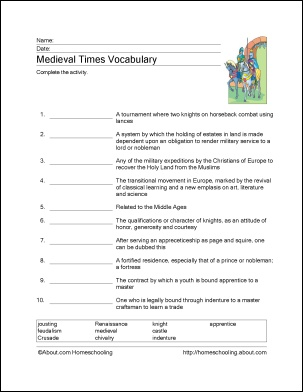 medieval times vocab