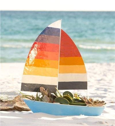 Handcrafted Catamaran Sailboat Garden Planter
