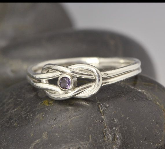 SALE Infinity Knot Birthstone Ring - Purple Ring - Feburary Birthstone Ring - Infinity Knot Jewelry - Birthstone Ring - Purple Gemstone on Etsy, $31.96