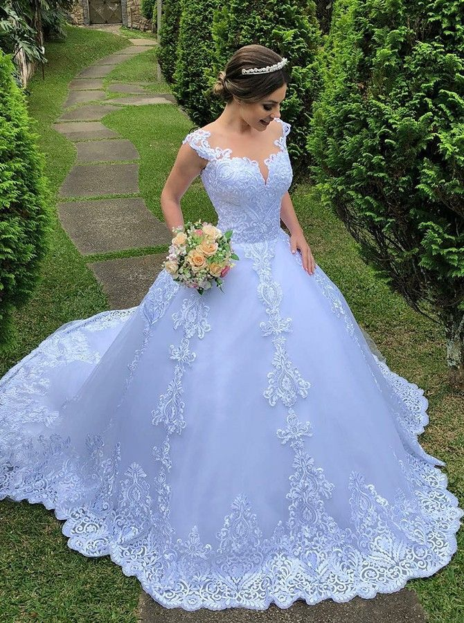 Ball Gown Round Neck Sweep Train Light Blue Wedding Dress With Lace Light Blue Wedding Dress Blue Wedding Dresses Boho Chic Wedding Dress