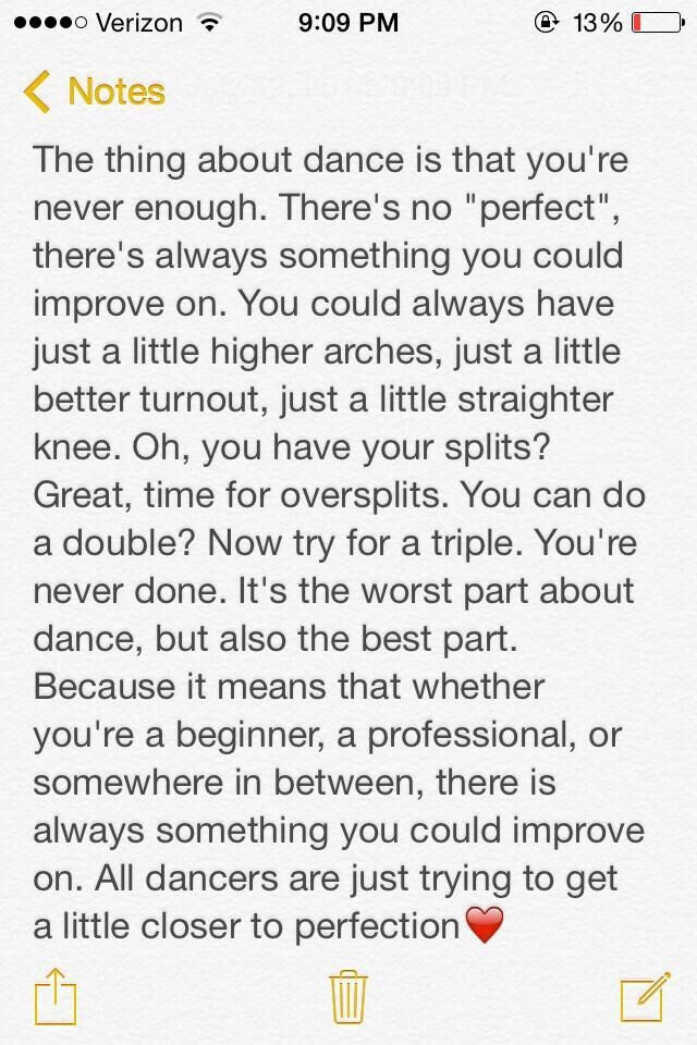 I love this! This is why I dance. This is why I push myself in all I do. To be the best version of me.
