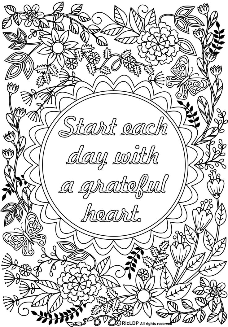 2 coloring pages with the message start each day with a grateful heart printable coloring pages for grown ups