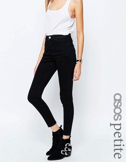 ASOS Petite | ASOS PETITE Ridley High Waist Ultra Skinny Jeans In Clean Black