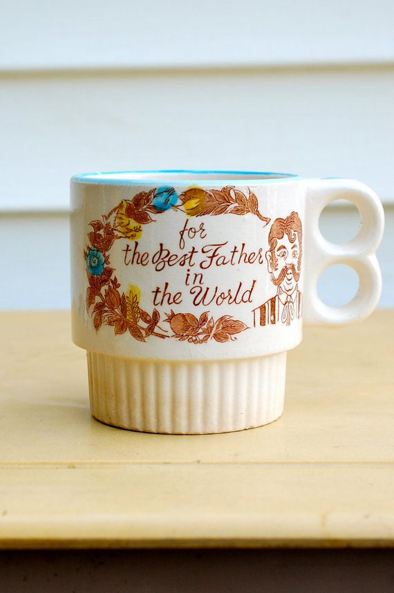 Vintage Best Father in The World Extra Large Coffee Mug Featuring a Dandy Handlebar Mustached Dad : Perfect Gift for Father's Day
