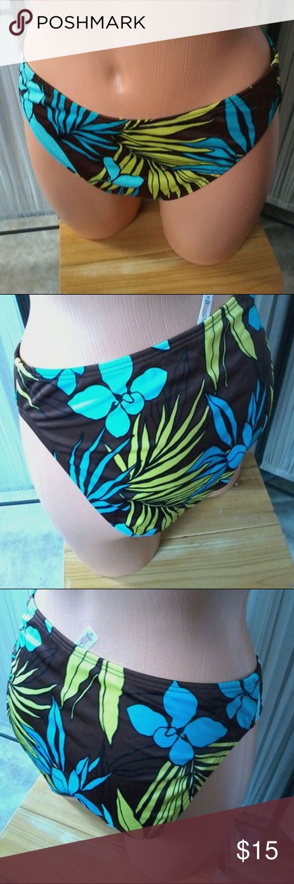 Brown blue yllow tropical rainforest deign full M Mix & match w a solid top. Lined in beige, full  cut back., mid front. Bun nd le & save more. Victoria's Secret Swim Bikinis