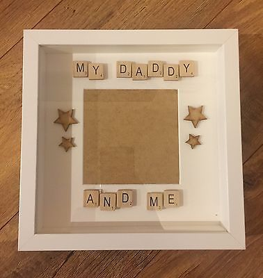 Handmade My Daddy & Me Scrabble Letter Photo Frame Grandad Grandpa Fathers Day