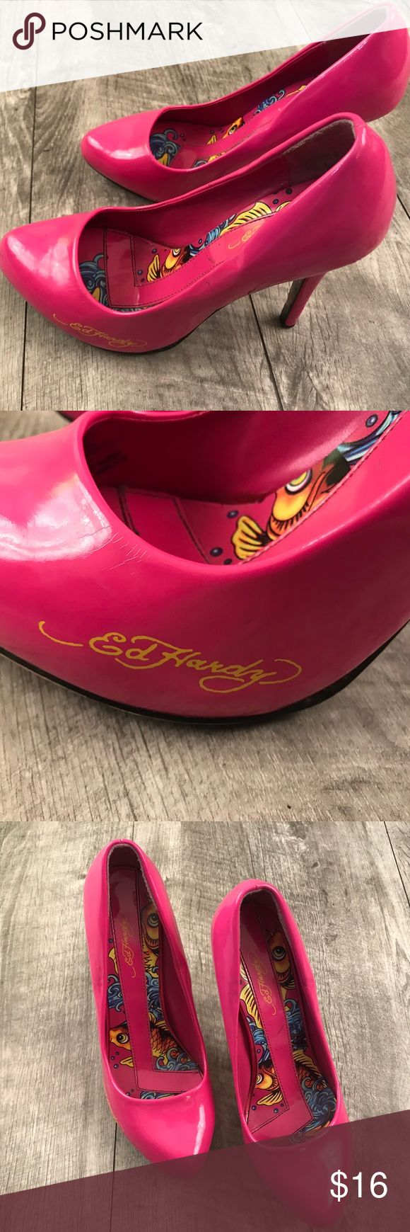 Ed Hardy Pink Pumps Women's 7 Ed Hardy Pink Pumps Women's Size 7 Minor Scuffs and Marks, Nothing Serious. Ed Hardy Shoes Heels