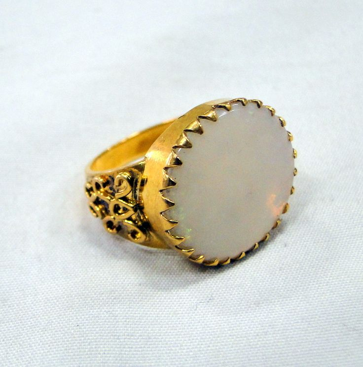 Opal ring~ Vintage 18 k Solid gold Opal ring jewelry - tribalexport