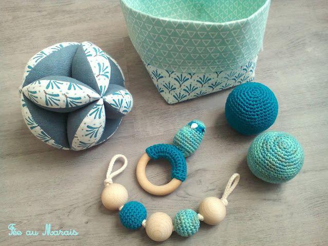 Balle de préhension d'inspiration Montessori, hochet, éveil bébé, idée cadeau de naissance / Fée au Marais