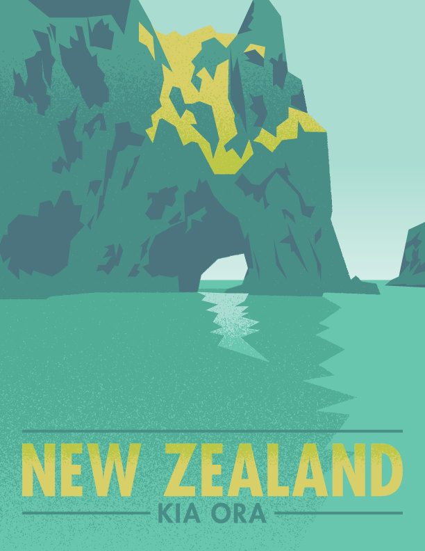 New Zealand Kia Ora Hole in the Rock Travel Poster