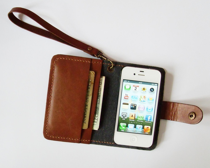 iPhone 4 Wallet - Leather iPhone Case with Crown Button Snap in Brown - for iPhone 4 or iPhone 4s - Handmade & Hand Stitched - Free Monogram