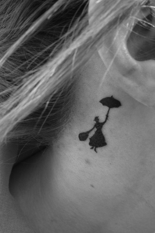 "Small and yet lovely Black-ink neck #tattoo inspired by ""Mary Poppins""."