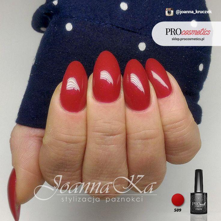 Czerwone paznokcie czerwień paznokcie żelowe paznokcie hybrydowe PROnail 509
